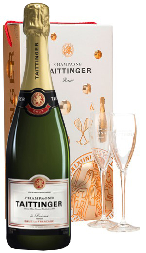 Taittinger Brut Reserva Bubble Gift Box with 2 Glasses